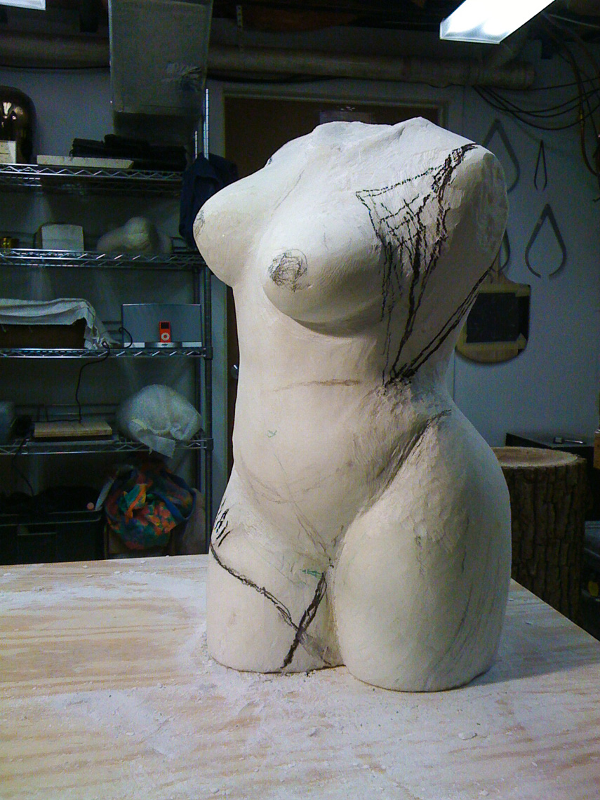 """Oriata"" Carrara torso in progress"