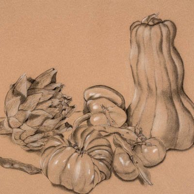 """Still Life with Overripe Artichoke"""