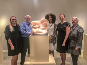 "The Meek Family, Me, and sculpture ""Mantle of Love"""