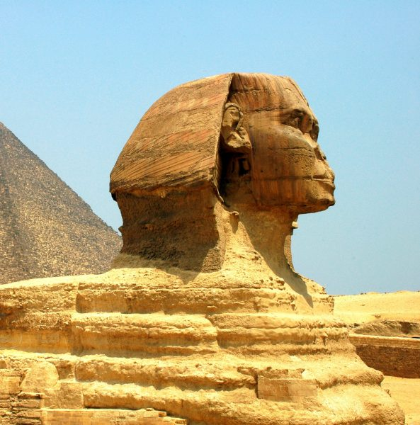 Sphinx in front of Pyramid Giza at Cairo Egypt