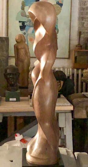 Black walnut sculpture left profile