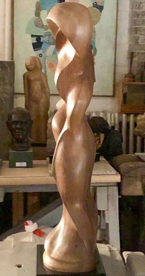 Black walnut sculpture left profile