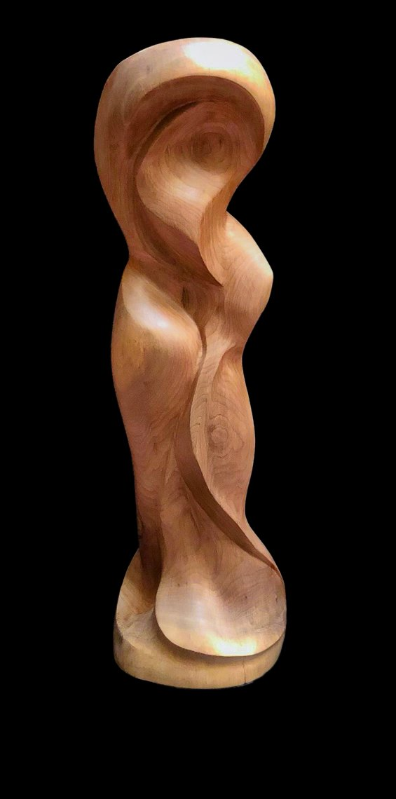 """""""Enfold"""" Black walnut wood carving front view"""