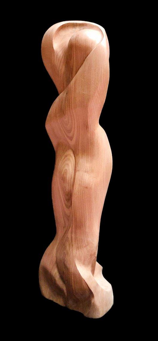 """Enfold"" Black walnut sculpture rear view"
