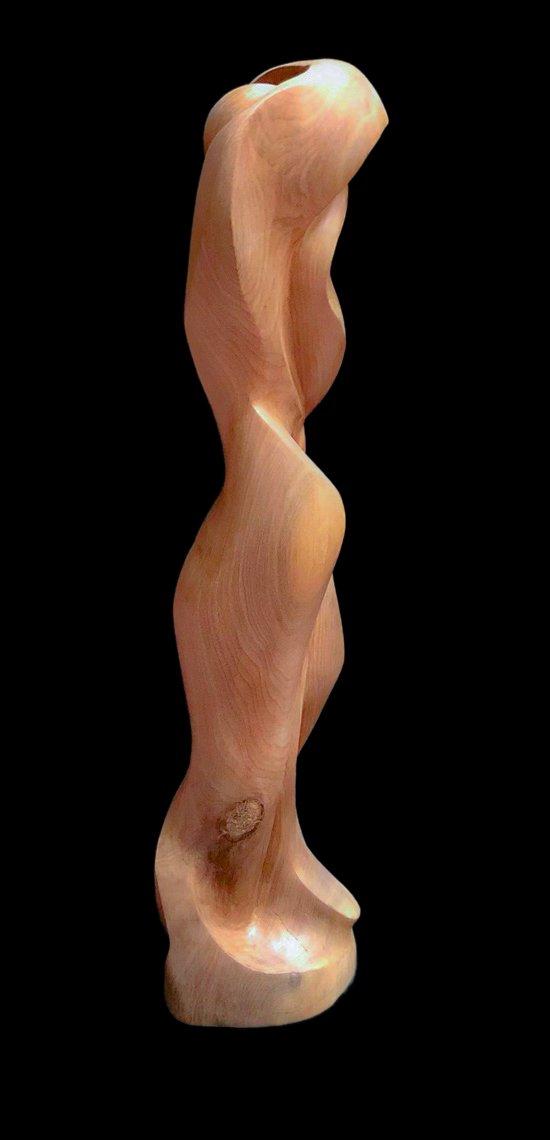 """Enfold"" Black walnut sculpture right profile"