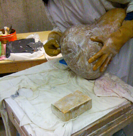 Sanding an Alabaster Stone Squash